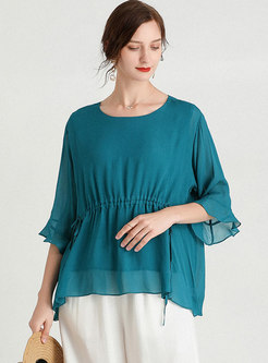 Plus Size Flare Sleeve Pullover Loose T-shirt