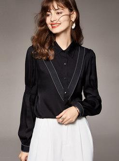Turn-down Collar Silk Single-breasted Blouse