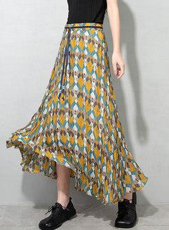 High Waisted Chiffon Plaid Print Maxi Skirt