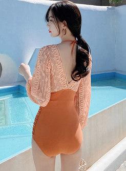 Halter Lace Patchwork One Piece Swimwear