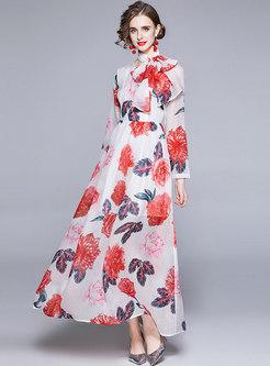 Boho Long Sleeve Print Big Hem Beach Dress
