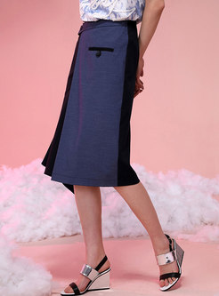 High Waisted Color-blocked Asymmetric Shift Skirt