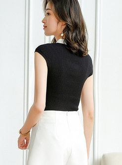 Turn-down Collar Sleeveless Pullover Knit Top
