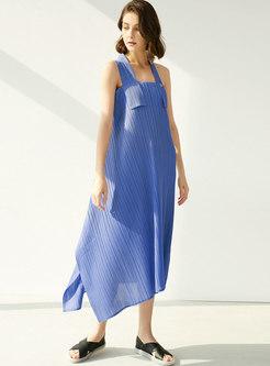 Brief Halter Asymmetric Shift Maxi Pleated Dress