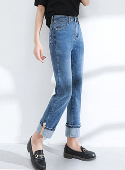 Deep Blue High Waisted Straight Jeans