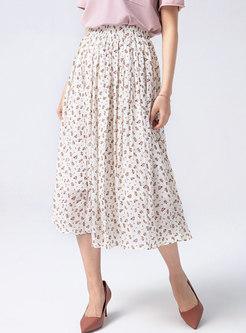 Flock Big Hem High Waisted A Line Maxi Skirt