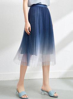 High Waisted Gradient Pleated Midi Skirt