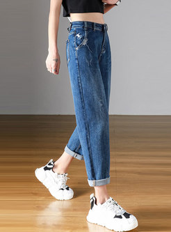 Casual Plus Size High Waisted Harem Jeans