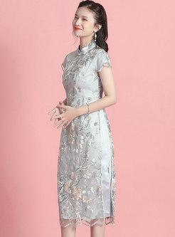 Mandarin Collar Mesh Embroidered Sequin A Line Dress