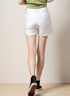 White High Waisted Straight Hot Pants