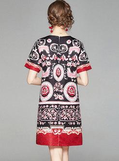 Retro Crew Neck Short Sleeve Jacquard Shift Dress