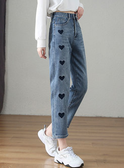 Blue High Waisted Print Plus Size Straight Jeans