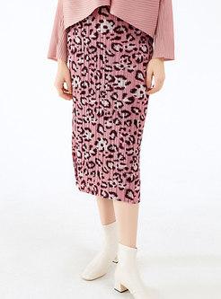 Pink Leopard Pleated Sheath Midi Skirt