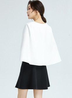 Crew Neck Mini Skater Dress With Cloak