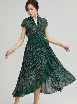 V-neck Cap Sleeve Polka Dot A Line Chiffon Dress