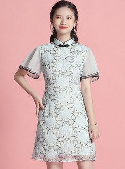 Mandarin Collar Mesh Improved Cheongsam Mini Dress