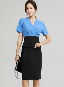 V-neck Color-blocked Patchwork Office Dress