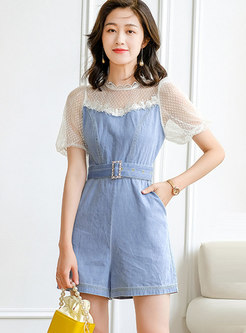 Mesh Patchwork Denim High Waisted Rompers