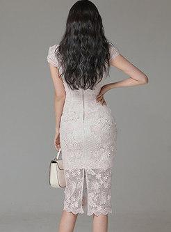 Mock Neck Cap Sleeve Openwork Lace Bodycon Dress