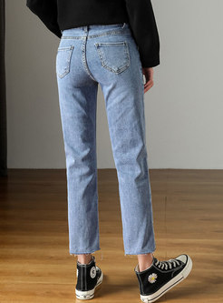 Light Blue High Waisted Straight Cropped Jeans