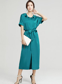 Brief Solid High Waisted Split Maxi Dress