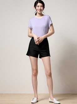 Black High Waisted Wide Leg Hot Pants