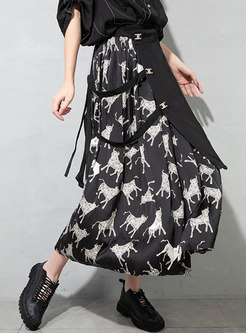Plus Size Animal Print Patchwork Maxi Skirt