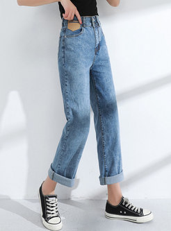 Plus Size High Waisted Wide Leg Jeans