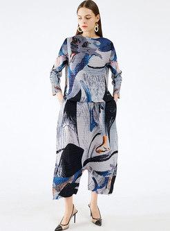 Casual Asymmetric Print Pleated Plus Size Pant Suits