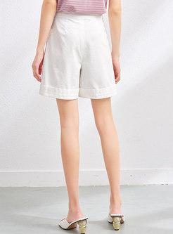 White High Waisted Cotton Wide Leg Shorts