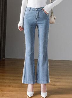 Blue High Waisted Openwork Bell Bottom Jeans