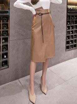 High Waisted Asymmetric Straight PU Skirt