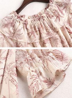 Crew Neck Print Blouse Elasticated Waist Short Pant Suits