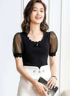 Mesh Patchwork Puff Sleeve Slim Knitted T-Shirt