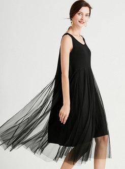 Black Plus Size Mesh Patchwork Shift Midi Dress
