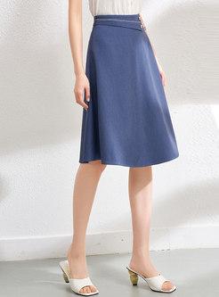 Casual High Waisted Knee-length A Line Skirt