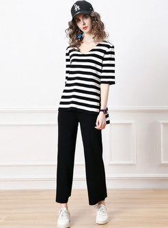 Half Sleeve V-Neck Striped Wrap Top Long Pant Suits