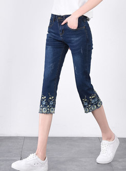 Deep Blue Embroidered Calf-Length Flare Pants