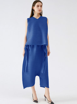 Solid Sleeveless Ruched Loose Top Harem Pant Suits