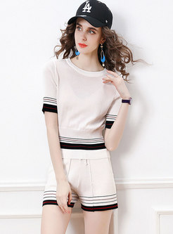 Casual Color-blocked Striped Knitted Shorts Suits