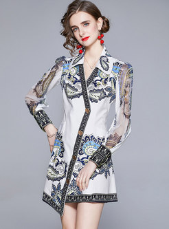 Turn-Down Collar Single-Breasted Long Sleeve Irregular Mini Dress
