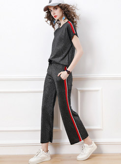 Color Blocked Batwing Sleeve Top Knitted Pant Suits
