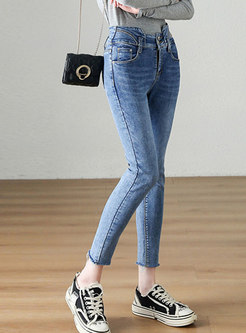 Blue High Waisted Fringed Pencil Jeans