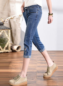 High Waisted Embroidered Calf-Length Jeans