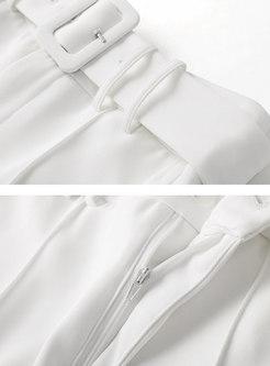 White High Waisted Chiffon Straight Pants