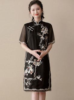 Vintage Patchwork Half Sleeve Cheongsam Shift Dress
