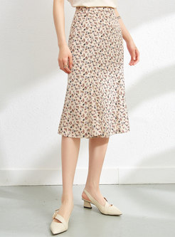 Casual Floral Soft Midi Skirt
