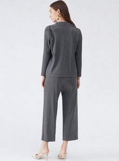 Casual Lapel Long Sleeve Pleated Pant Suits