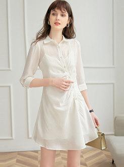Turn-down Collar 3/4 Sleeve Smocked Shirt Dress