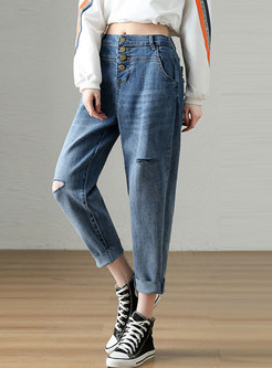 Plus Size High Waisted Harem Ripped Jeans